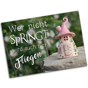 """Postkarte """"Wer nicht springt, kann auch nicht fliegen"""""""